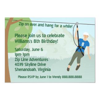 Zip Line Lining Birthday Party 11 Cm X 16 Cm Invitation Card