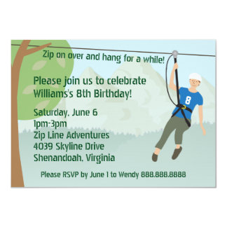 Zip Line Lining Birthday Party Card