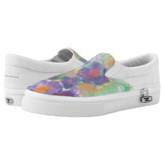 Zip Slip One Purple Flower Printed Shoes