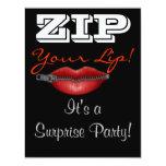 """ZIP your lip surprise party invite 4.25"""" X 5.5"""" Invitation Card"""