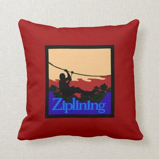 Ziplining-Skyrider Throw Pillows