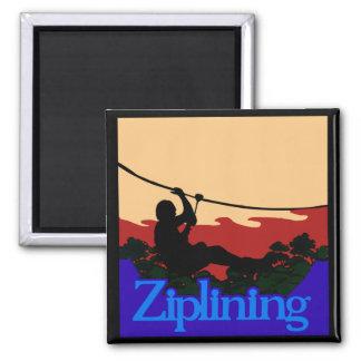 Ziplining Skyrider Square Magnet