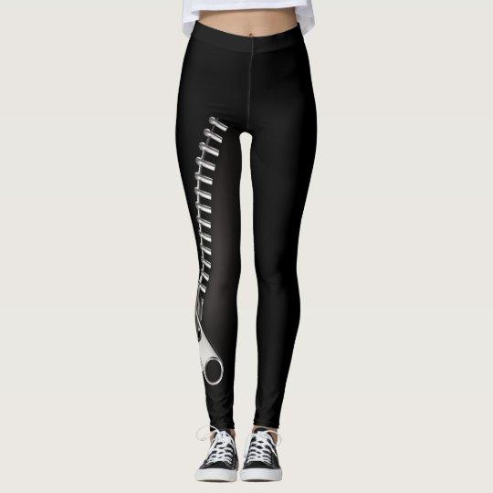 Zipper Black Leggings