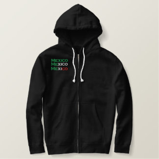 Zipper, Mexico, tri-color embroidery Embroidered Sherpa Hoodie