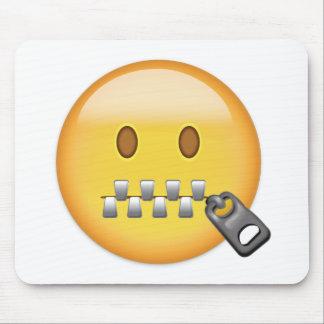 Zipper-Mouth Face Emoji Mouse Pad