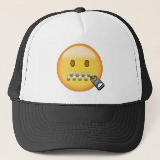 Zipper-Mouth Face Emoji Trucker Hat