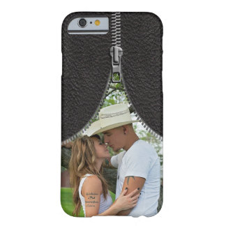 Zipper Photo Template On Faux Leather Barely There iPhone 6 Case