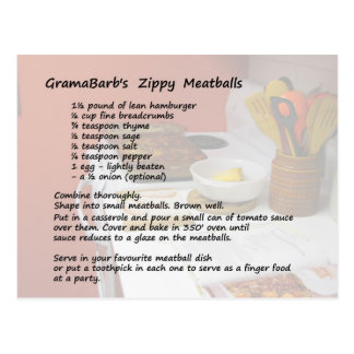 Zippy Meatballs Recipe Postcard
