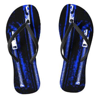 Zips Blue print flip flops
