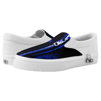 Zips Blue print slip on shoes Printed Shoes
