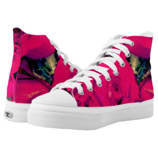 Zips High Top shoes Roses, custom, personalize! Printed Shoes