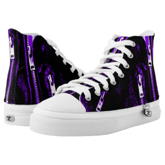Zips Purple print high top shoes Printed Shoes