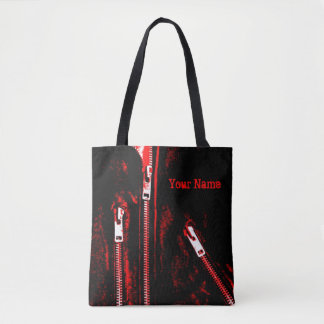 Zips Red print Name all over tote bag