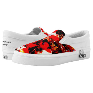 Zips slip-on shoes. Wild red/white koi fish Printed Shoes