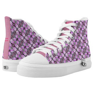 Zipz High Top Shoes 706C Flower Fractal Mauve Printed Shoes