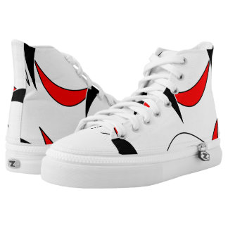 Zipz High Top Shoes, Black White Red Art Pattern Printed Shoes