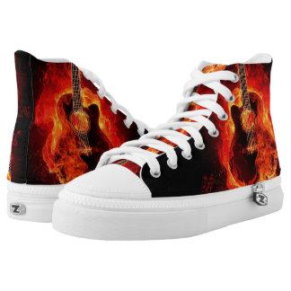 Zipz High Top Shoes, Burning Guitar Flames, Music Printed Shoes