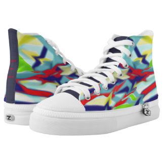 Zipz High Top Shoes Chaos into Form Design Blue