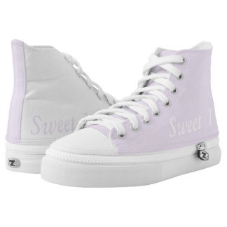Zipz High Top Shoes, Funny Sweet 16 Soft Pink Printed Shoes