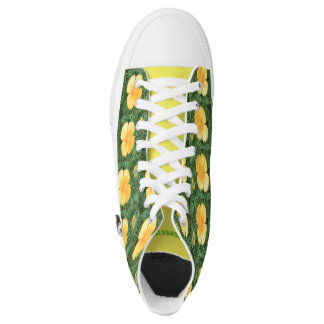 Zipz High Top Shoes Sweet Yellow Flower Photo Printed Shoes
