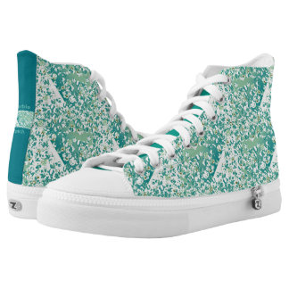 Zipz High Top Shoes Teal Marble Patch Design Printed Shoes