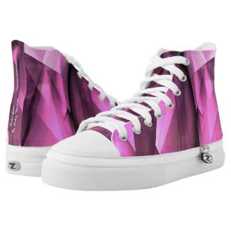 """Zipz high tops """"Orchid Glass"""" Abstract pink purple Printed Shoes"""