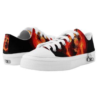 Zipz Low Top Burning Guitar Flames Music Printed Shoes