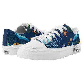 Zipz Low Top Ocean Aquatic Deep Sea Artist Pattern Printed Shoes