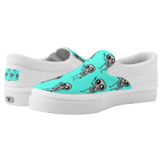 Zipz Slip On Shoes, neon blue, with skeleton Printed Shoes