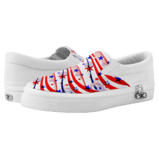 ZipZ Slip On Shoes-Patriotic Stars  Stripes Printed Shoes