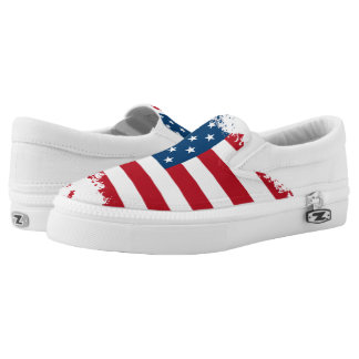 ZipZ Slip On Shoes-Patriotic USA Flag