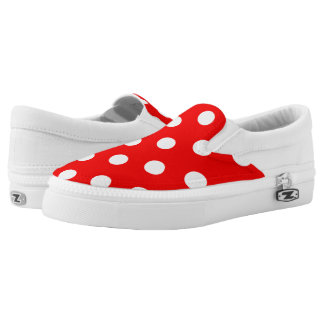 ZipZ Slip On Shoes-Red & White Polka Dots Printed Shoes