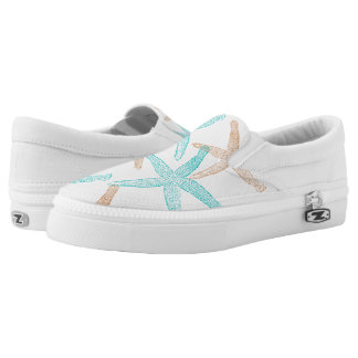 ZipZ Slip On Shoes-Starfish Printed Shoes