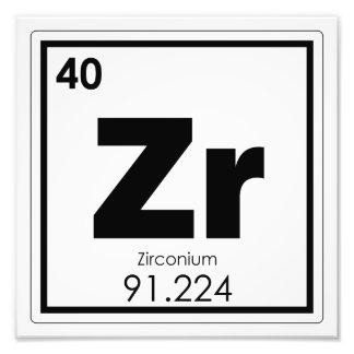 Zirconium chemical element symbol chemistry formul photo print