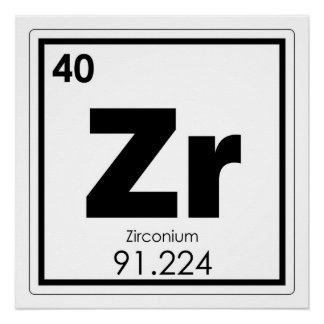 Zirconium chemical element symbol chemistry formul poster
