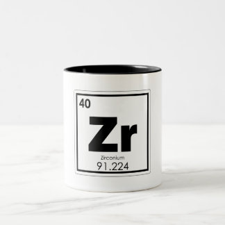 Zirconium chemical element symbol chemistry formul Two-Tone coffee mug
