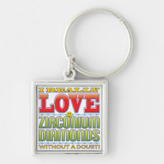 Zirconium Diamonds Love Face Keychains
