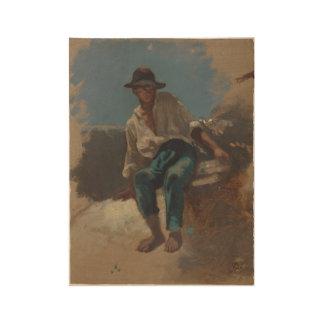 Zittende jongeman met vilten hoed op, Johan Daniël Wood Poster