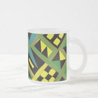 Zizzag greenish lines with random pattern mug