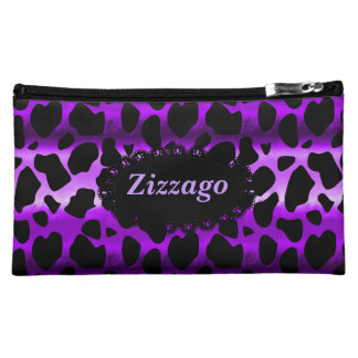Zizzago Cosmetic Bag Purple Black Leopard