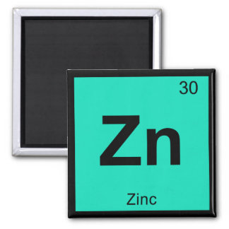 Zn - Zinc Chemistry Periodic Table Symbol Element Square Magnet