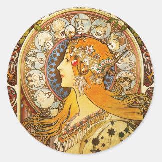 Zodiac - Alphonse Mucha Classic Round Sticker