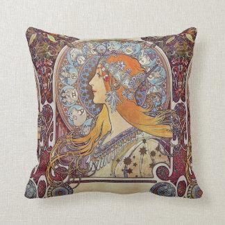 Zodiac and Her Tiara Alphonse Mucha Fine Art Cushion
