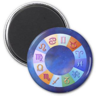 Zodiac Aqua Ring in Space 6 Cm Round Magnet