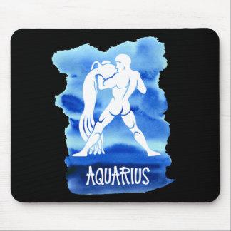 Zodiac Aquarius Blue Watercolor Gold Stars Mouse Pad