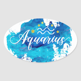 Zodiac Aquarius Blue Watercolor Gold Stars Oval Sticker