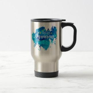 Zodiac Aquarius Blue Watercolor Gold Stars Travel Mug