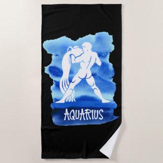Zodiac Aquarius Stylized Sign Blue Watercolor Beach Towel