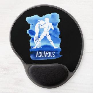 Zodiac Aquarius Stylized Sign Blue Watercolor Gel Mouse Pad