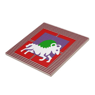 ZODIAC ARIES Jyotish  Astrology Small Square Tile